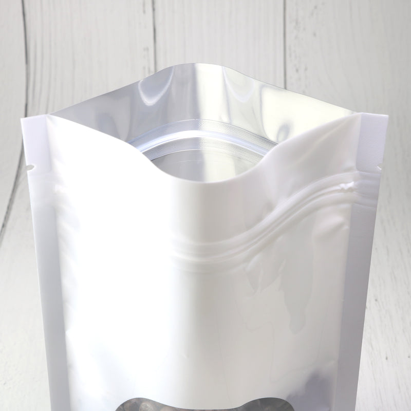 QQ Studio® Glossy Purity White Round Window Plastic and Mylar Stand Strong™ Bags