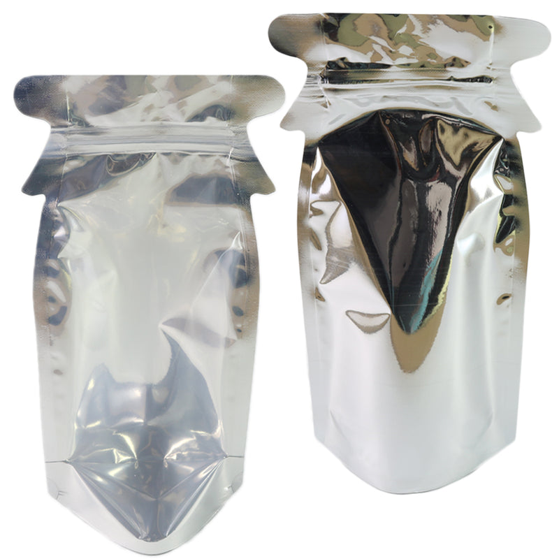 QQ Studio® Clear and Silver Chrome Metallic Mylar Bottle Shaped Stand QuickQlick™ Bags