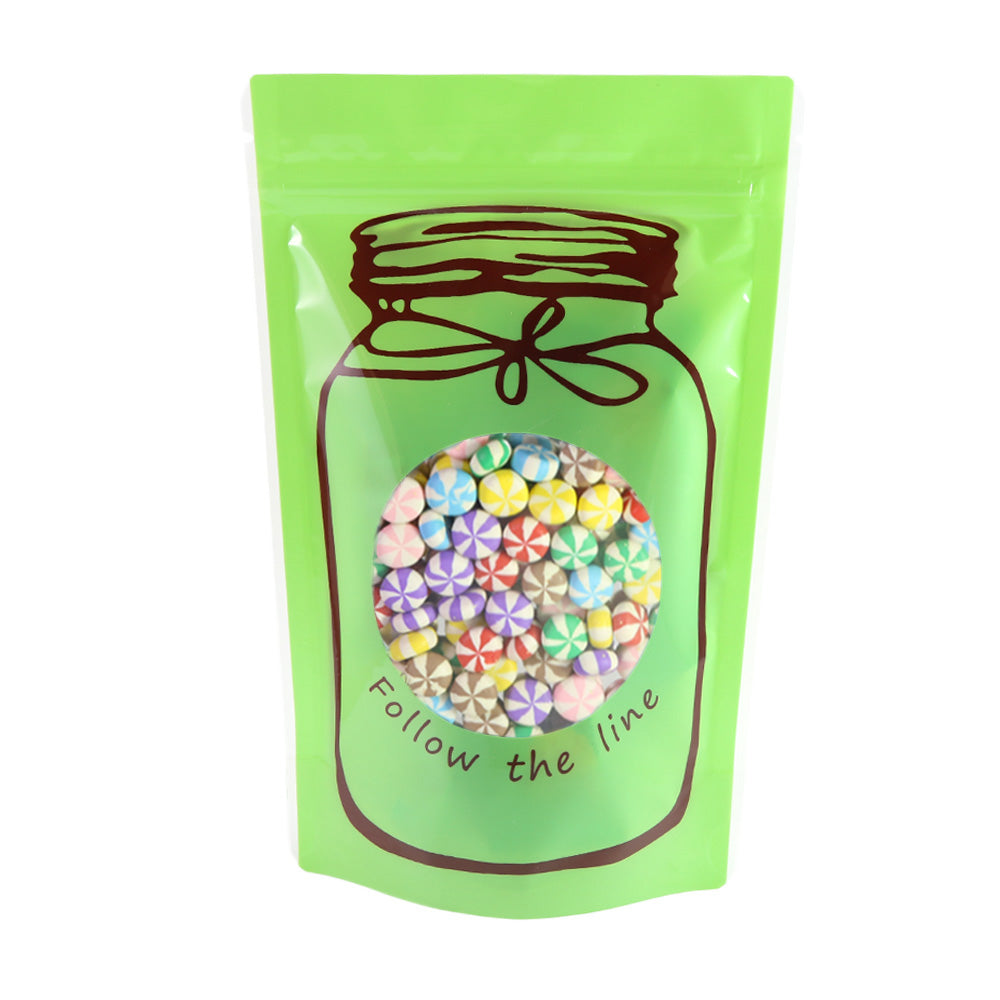 QQ Studio® Glossy Honeydew Green Printed Bottle Design Stand QuickQlick™ Bags
