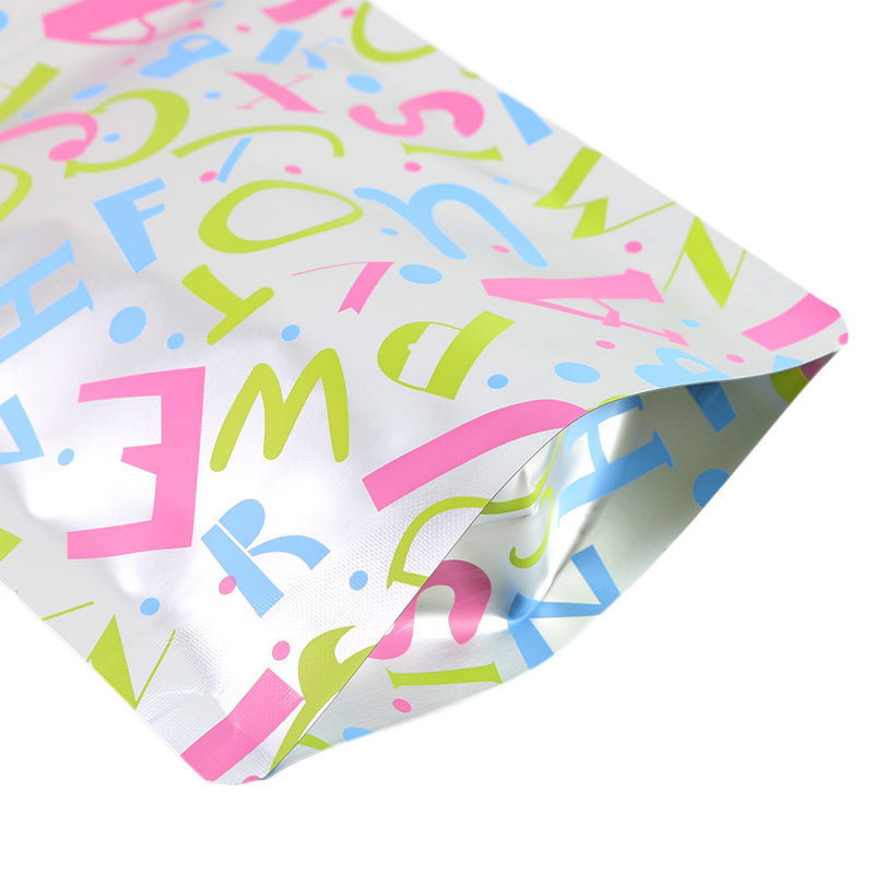 QQ Studio® Alphabet Design Double-Sided Confetti Silver Aluminum Stand QuickQlick™ Bags