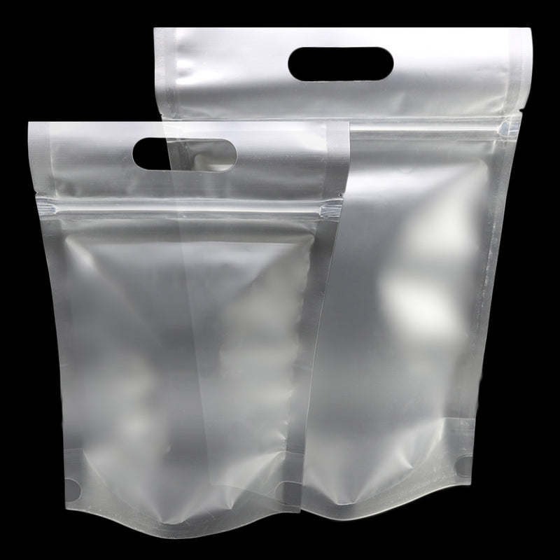 QQ Studio® Cloudy Translucent Polyethylene Stand QuickQlick™ Bags with Die Cut Handles