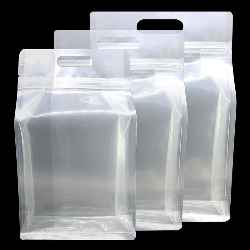 QQ Studio® Clean Clear Polyethylene Side Gusset Stand QuickQlick™ Bags with Die Cut Handles