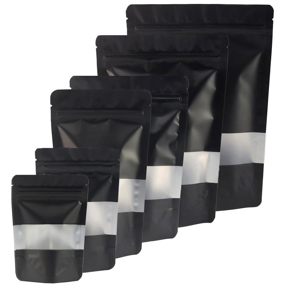 QQ Studio® Matte Waxed Black Window Mylar Stand QuickQlick™ Bags