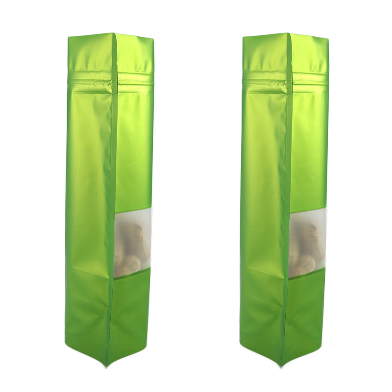 QQ Studio® Matte Citrus Green Frosted Window Mylar Stand QuickQlick™ Bags