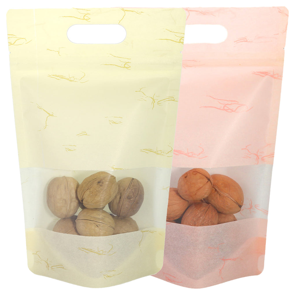 QQ Studio® Matte Rice Paper Clear Window Stand QuickQlick™ Bags with Die Cut Handles