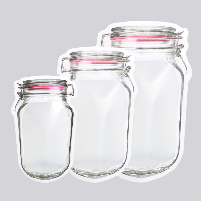 QQ Studio® Translucent Glass Bottle Shaped Jarring Red Lid Design Polyethylene Stand QuickQlick™ Bags