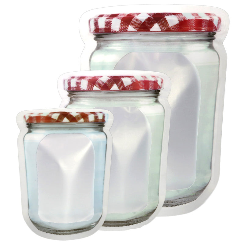 QQ Studio® Translucent Glass Bottle Shaped Red & White Lid Design Polyethylene Stand QuickQlick™ Bags