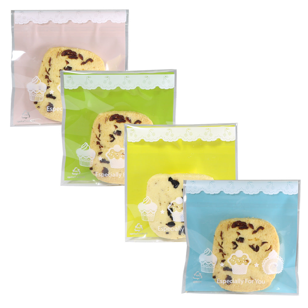 Transparent Bakery Printed Designs Plastic Self-Adhesive Bags
