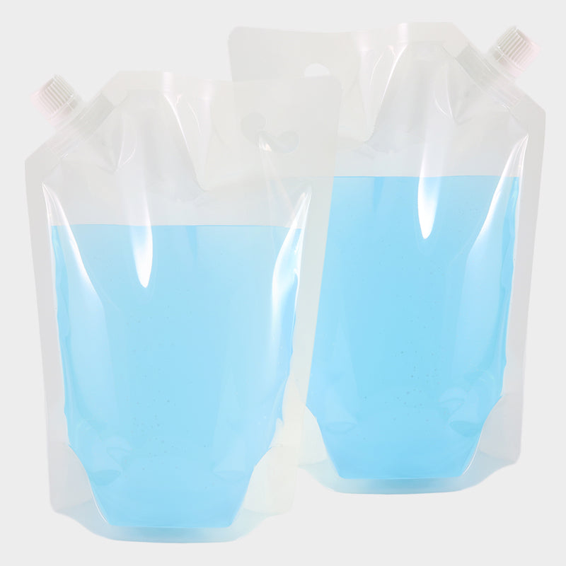 Glossy Plastic Stand Pouch with Corner Screw Cap Spout and Carry Out Hang Hole