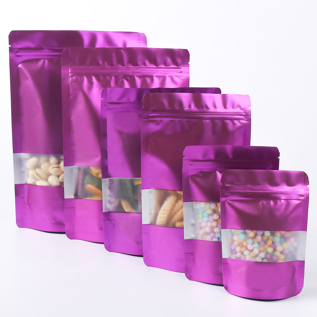 QQ Studio® Matte Acai Purple Frosted Window Mylar Stand QuickQlick™ Bags