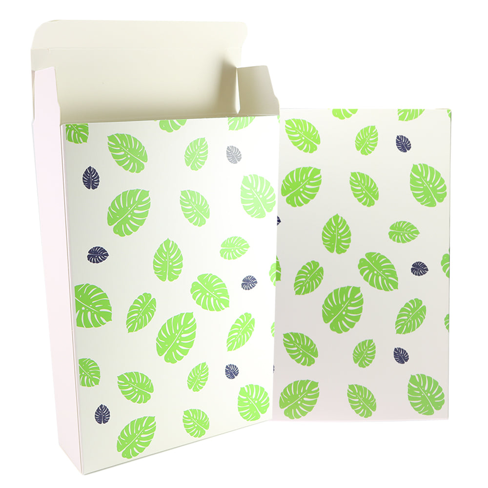 Leaf Design Printed Cardboard Gift Boxes with Fold and Tuck Tabs