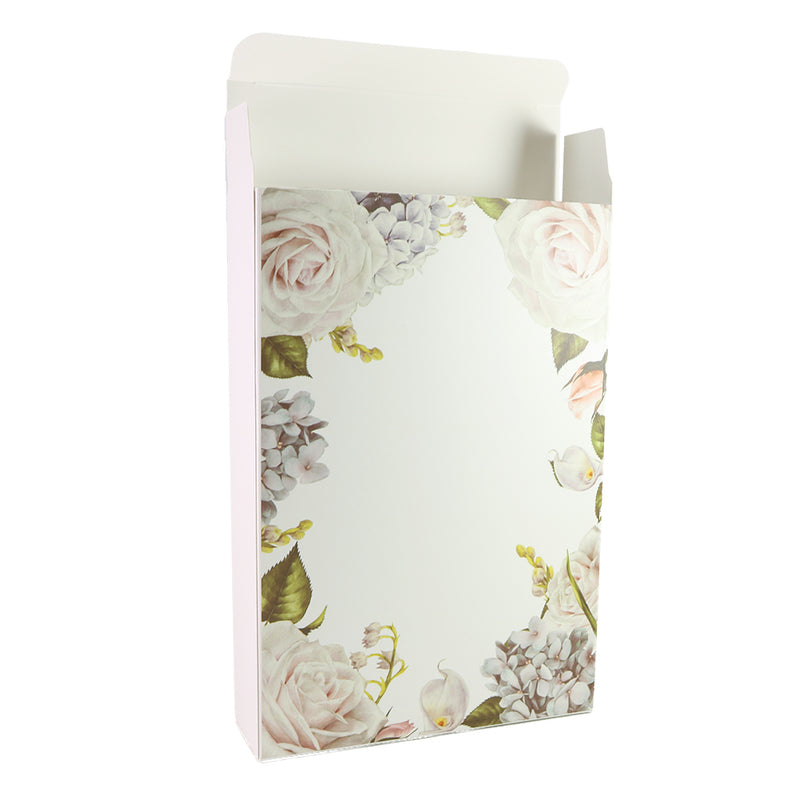 Flower Border Printed Cardboard Gift Boxes with Fold and Tuck Tabs