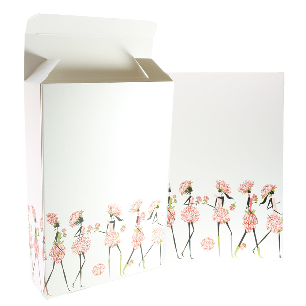 Flower Girl Printed Cardboard Gift Boxes with Fold and Tuck Tabs