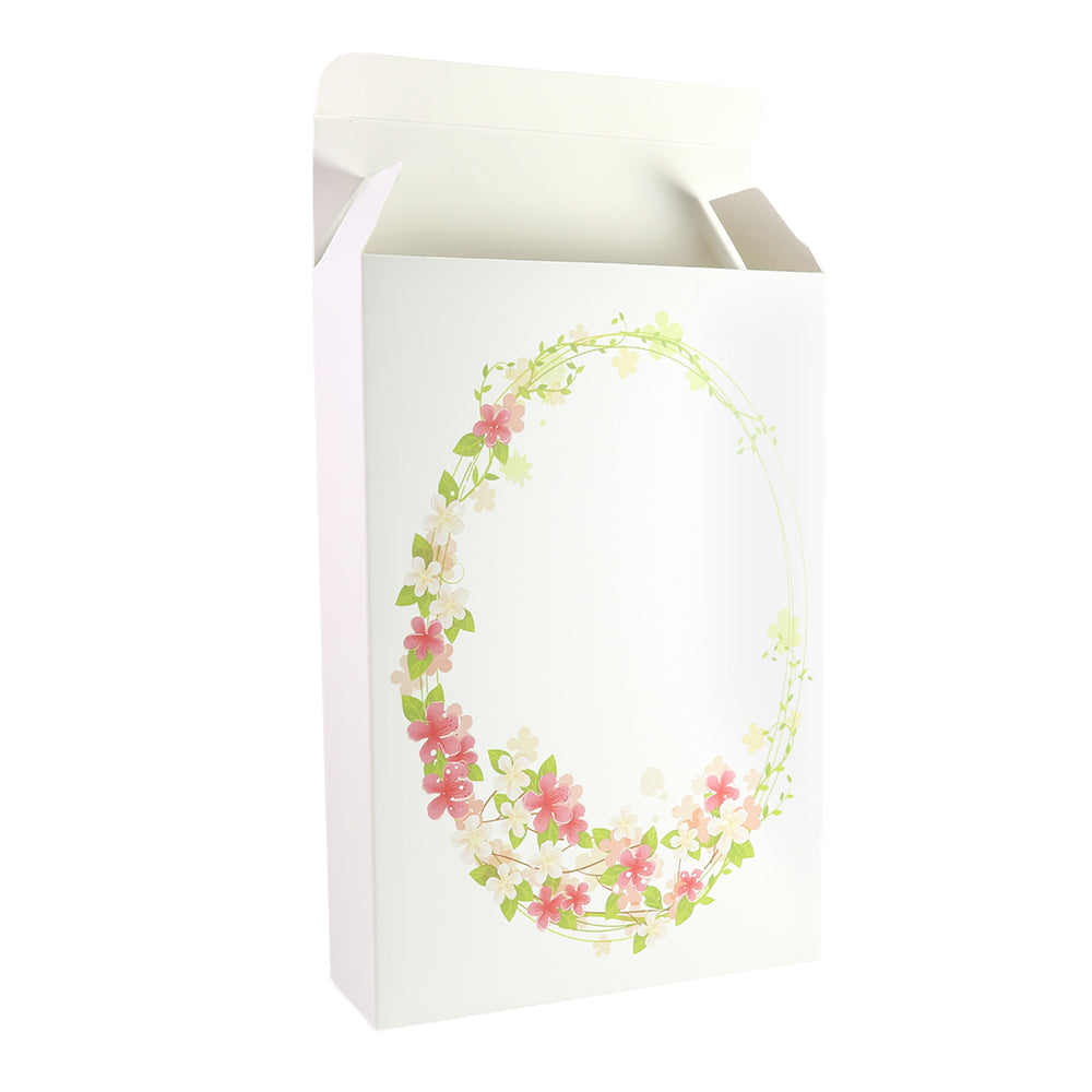 Flower Wreath Printed Cardboard Gift Boxes with Fold and Tuck Tabs