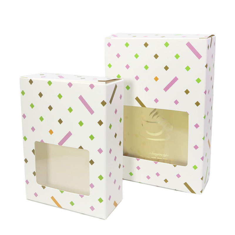 Polka Dot Printed Cardboard Gift Boxes with Fold and Tuck Tabs and Glossy Window