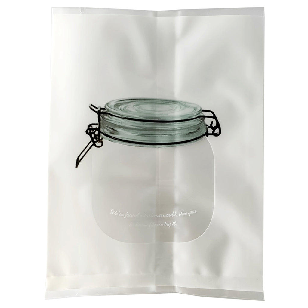 QQ Studio® Sugar White with Translucent Window Jar Design Open Top Bags