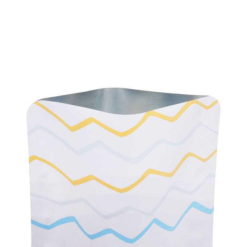 QQ Studio® Matte Wavy White with Color Waves Design Mylar Foil Open Top Bags