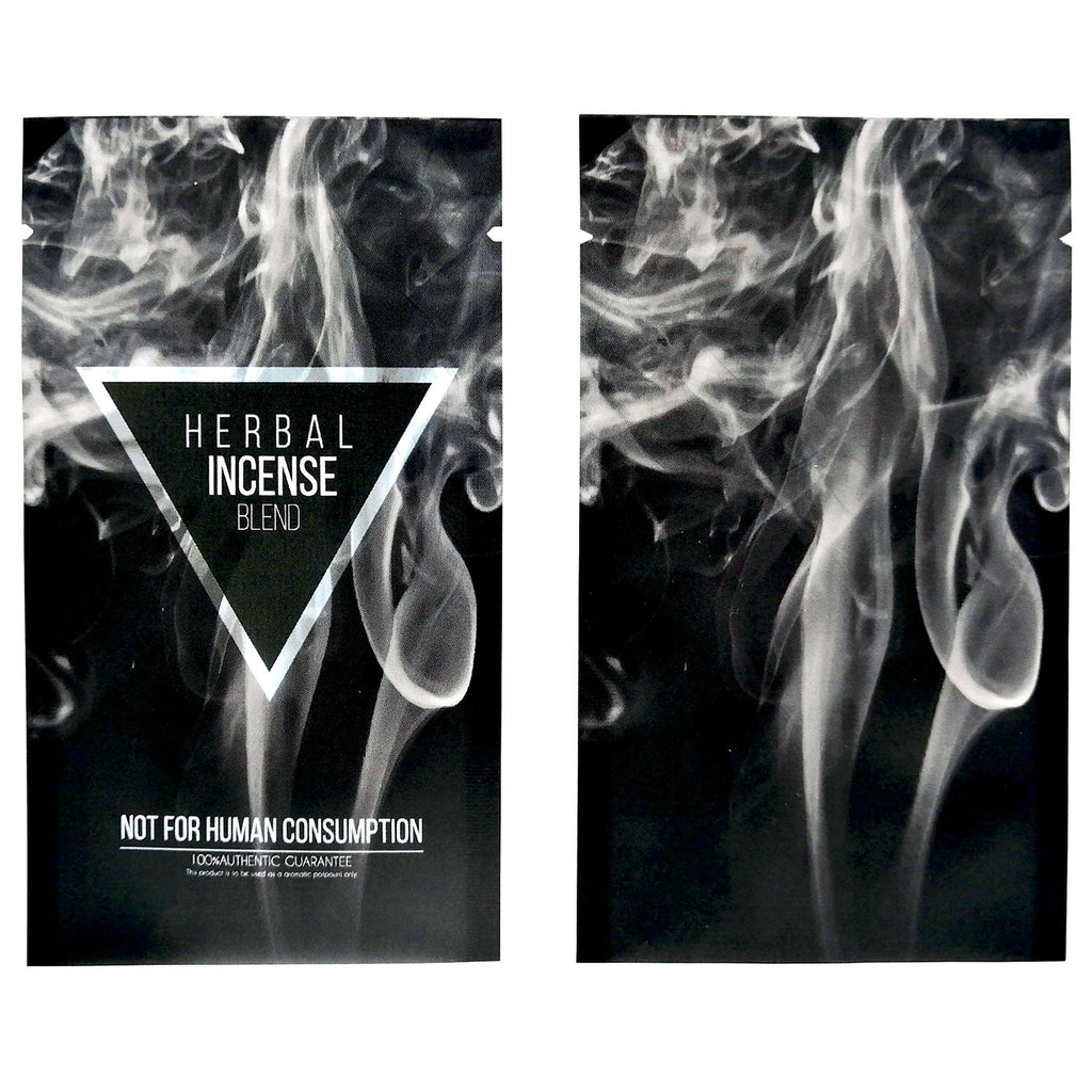 QQ Studio® Herbal Black Incense Blend Pattern Design Metallic Foil Open Fill Bags