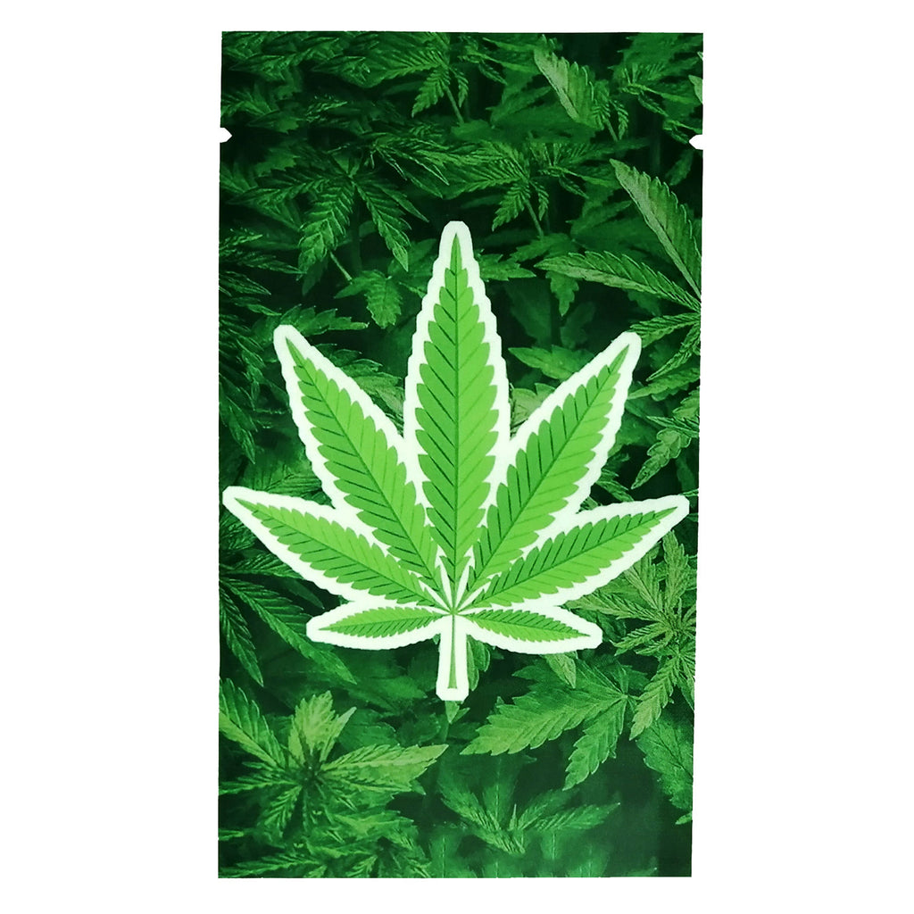 QQ Studio® Green Kush Herbal Leaf Pattern Design Metallic Foil Open Fill Bags