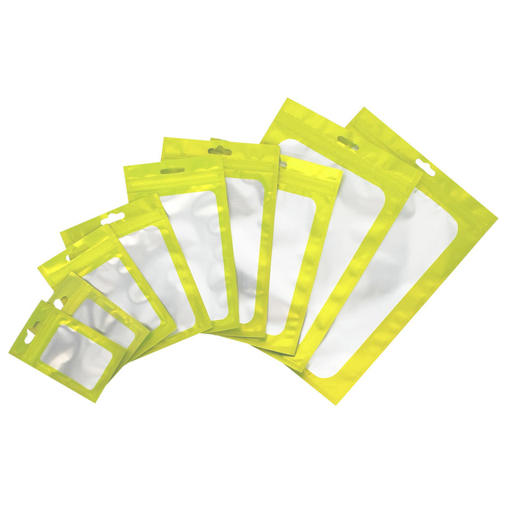 QQ Studio® Matte Yellow Green Translucent Border Design Mylar Foil Flat QuickQlick™ Bags with Butterfly Hang Hole