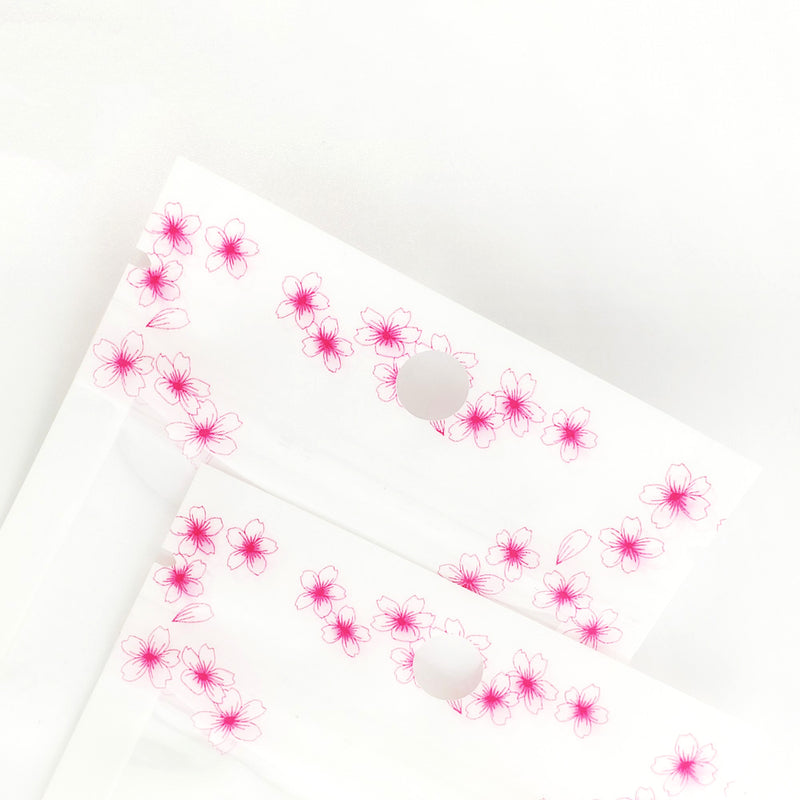 QQ Studio® Glossy Floral White and Flower Border Design Polyethylene Flat QuickQlick™ Bags with Hang Hole