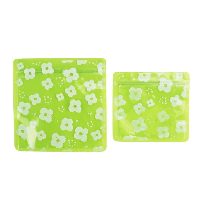 QQ Studio® Petunia Green Designed Multi-Icon Pattern QuickQlick™ Bags with Clear Window