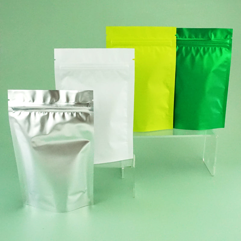 QQ Studio® Matte Pistachio Green Metalized Foil StandStrong™ Packaging Bags With Zipper Seal