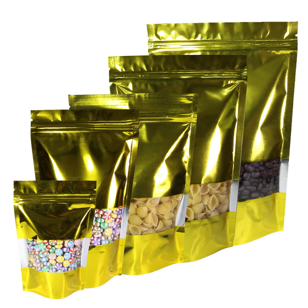 QQ Studio® Glossy Lustrous Gold Metallic Foil with Transparent Window Stand Strong™ Bags