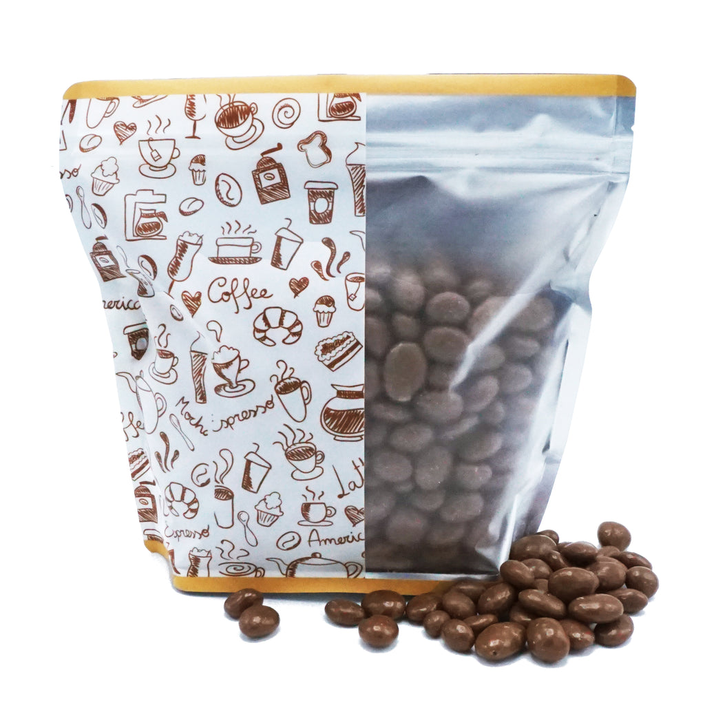QQ Studio® Matte Café White Coffee Designed Windowed Stand Strong™ Packaging Bags