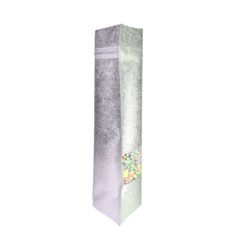 QQ Studio® Antique Silver Rice Paper with Clear Window Stand Strong™ Bags