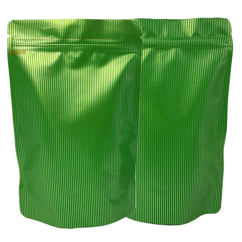 QQ Studio® Baseball Green Stripe Design Mylar Stand QuickQlick™ Bags