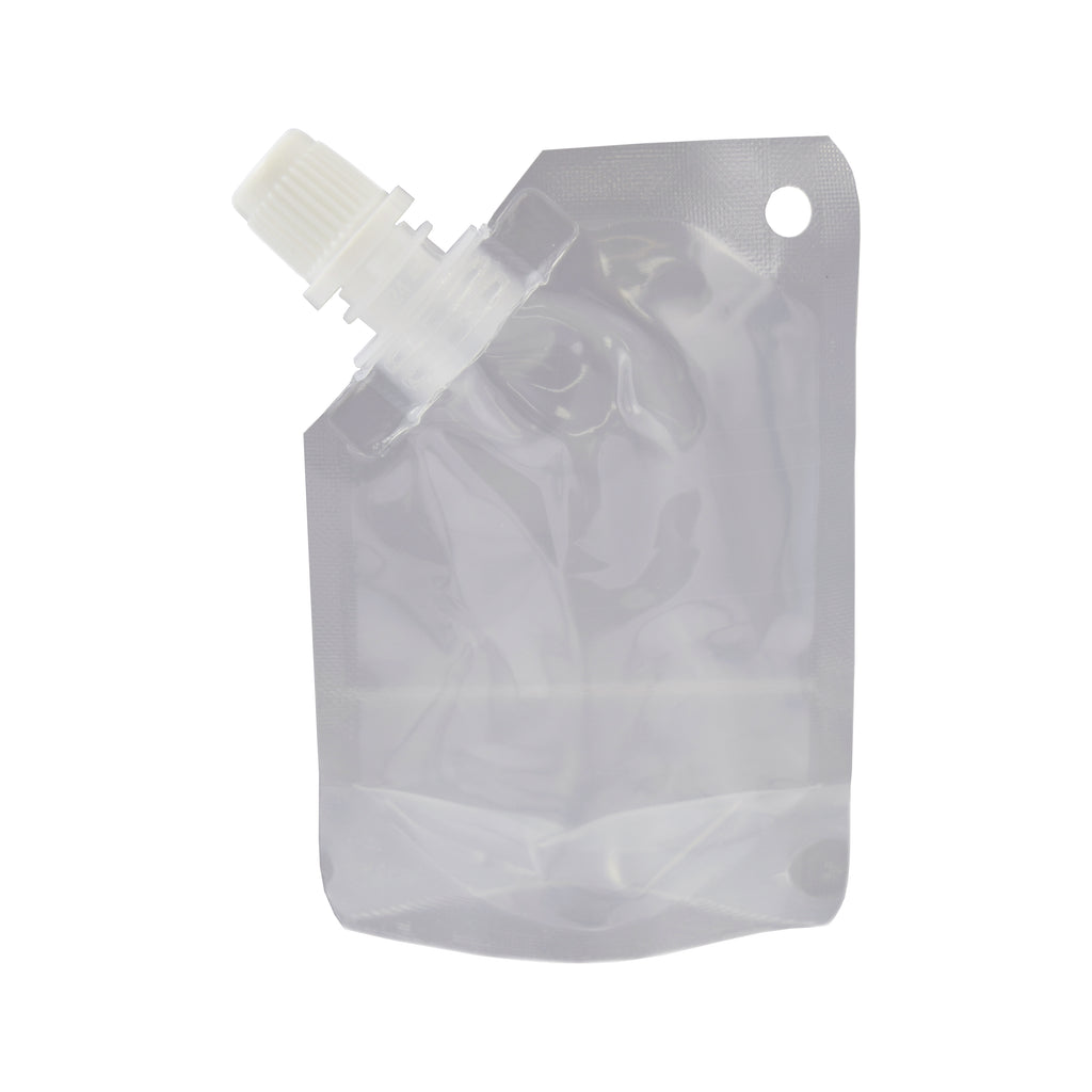 Glossy Plastic Stand Pouch with Corner Screw Cap Spout and Hang Hole