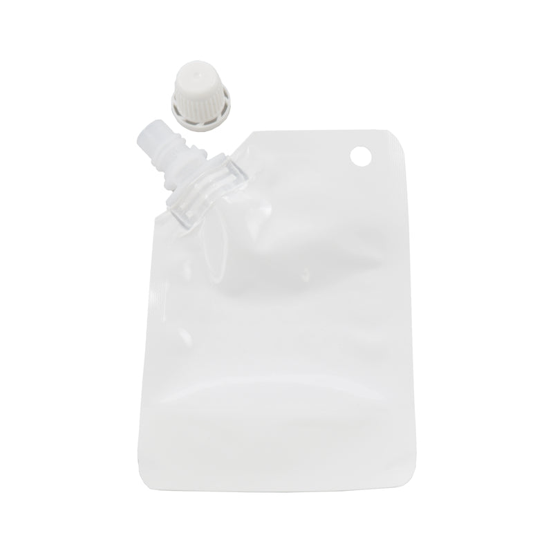 Glossy Arctic White Plastic Stand Pouch with Corner Screw Cap Spout and Hang Hole