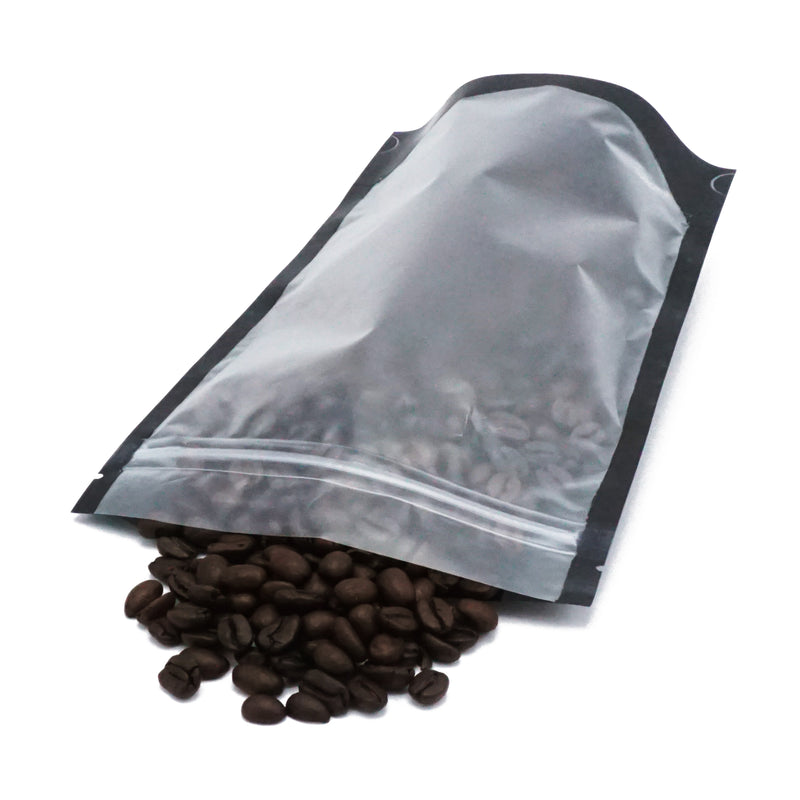 QQ Studio® Mocha Black Coffee Valve StandStrong™ Packaging Bags with Zipper Seal