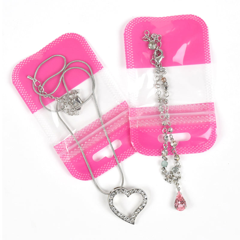 QQ Studio® Glossy Half Blushing Pink QuickQlick™ Bags with Butterfly Hang Hole