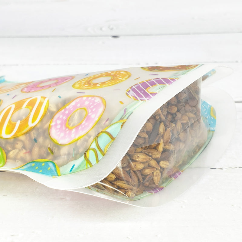 QQ Studio® Mixed Doughnut, Leaf, and Feather Print Designs Translucent Polyethylene Jar Shaped QuickQlick™ Bags