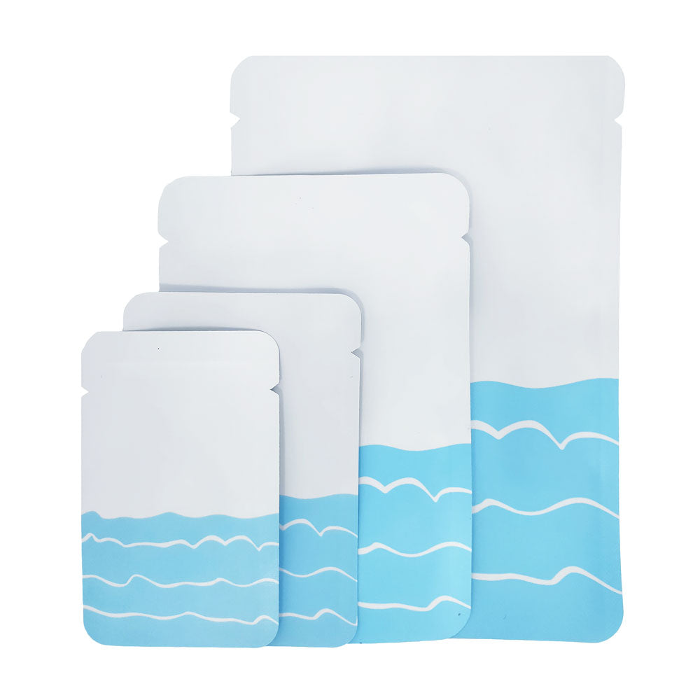 QQ Studio® Matte Ocean White with Blue Waves Design Mylar Foil Open Top Bags