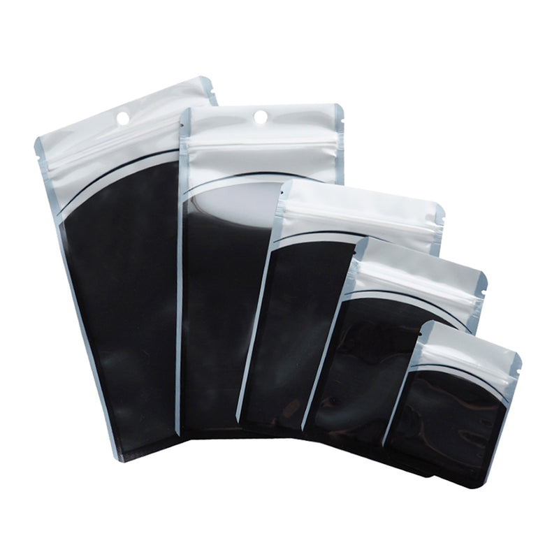 QQ Studio® Glossy Jarring Black Plastic QuickQlick™ Bags with Hang Hole