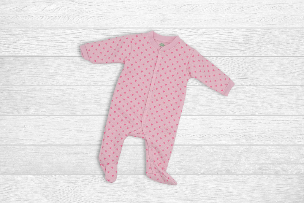 Quilted Babygrow with little Hearts