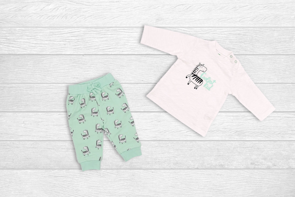 Long-sleeve T-shirt and Pants Set with Zebra