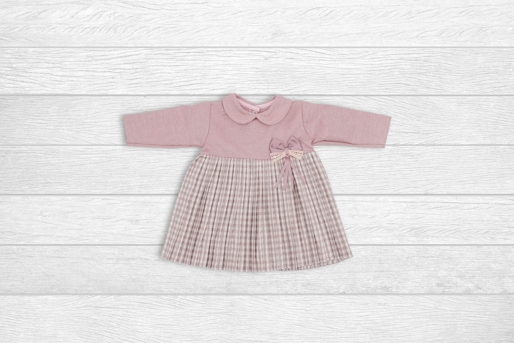 Woven Dress with Collar and Bow
