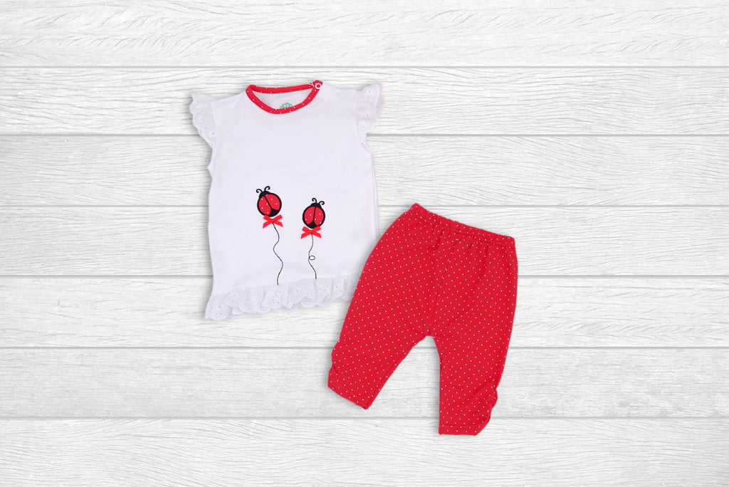 T-shirt and half Leggings with LadyBugs