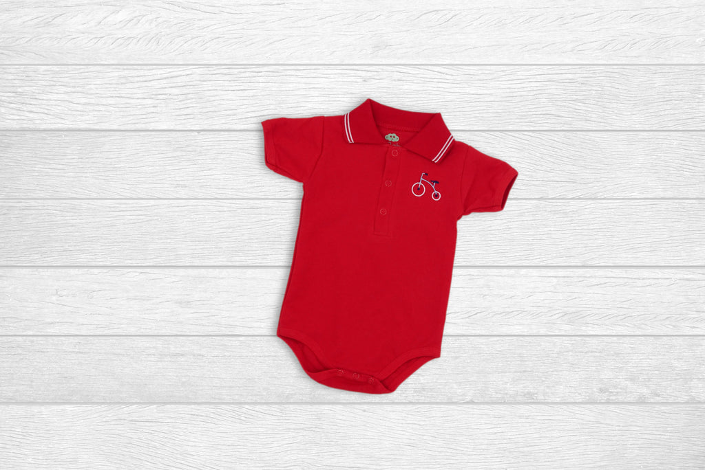 Romper Polo Shirt with Bicycle
