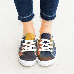 Women's Tie Dye Canvas Lace-up Flat Heel Sneakers