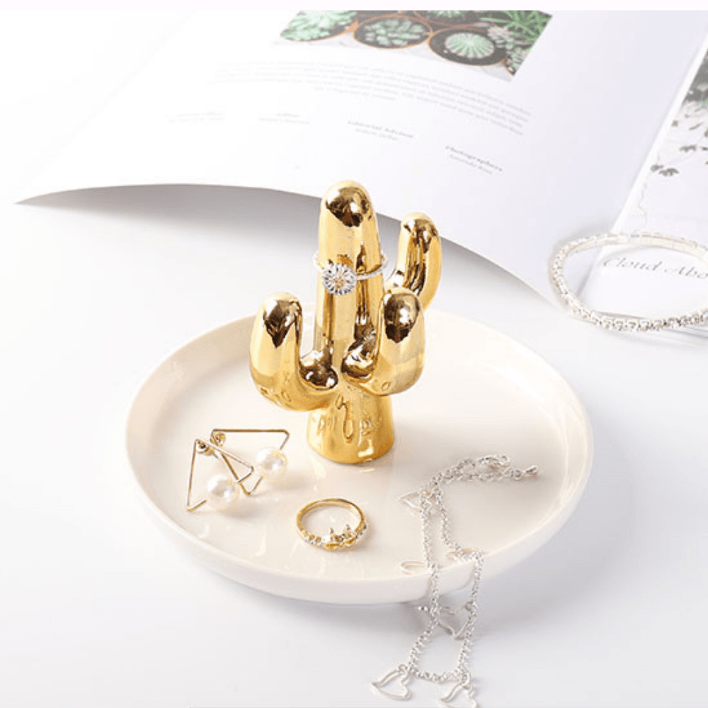 Beautiful gold cactus jewellery tray for home decoration