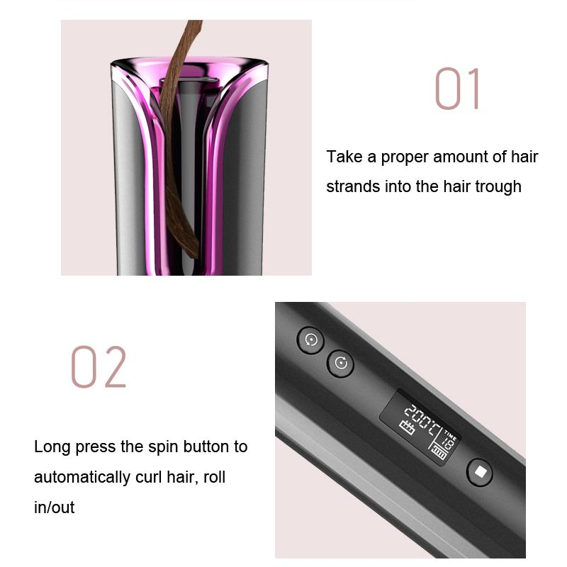 Portable Ceramic Hair Curler with LCD Display - Automatic Hair Curler