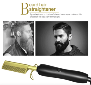 The Titanium hot comb can also be used as beard straightener for men.