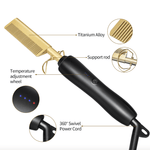 Titanium Hair Straightener and Curler Comb key specifications, such as temperature adjustment settings (three), 360 swivel power cord and support rod.