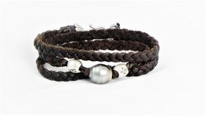 Black Pearl wrap leather bracelet