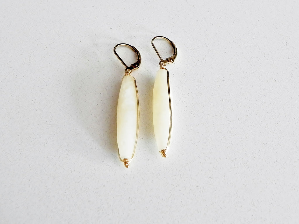 White Jade Tube Earrings
